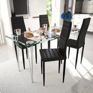 TABLE À MANGER COMPLÈTE Ensemble de Table à manger 4 chaises noires aux li