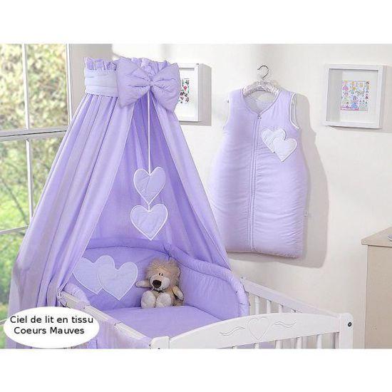 Ciel de lit bébé en tissu – mauve à coeurs Violet - Achat / Vente ...
