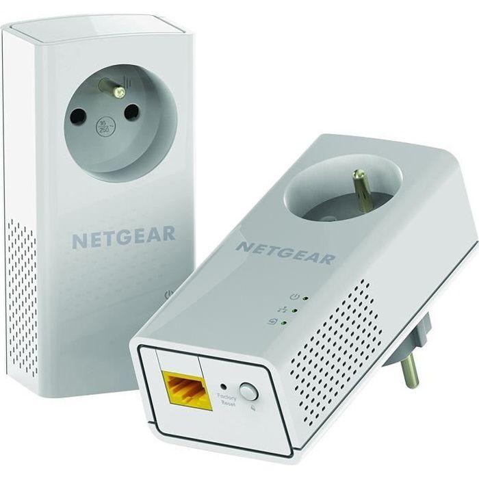 NETGEAR Adaptateur PLP2000-100FRS - Pack de 2 adaptateurs CPL Gigabit - 2 ports 10/100/1000 RJ45 - Avec prise intégrée