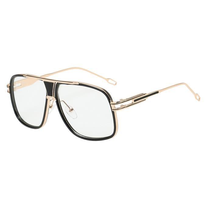 b2ddbbb2d8 Des lunettes Lunettes de soleil carrées pour hommes et femmes (Golden Frame  Flat)_070