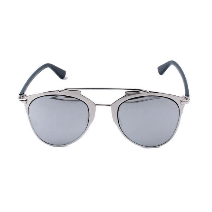 Cadre Classique Femmes en métal lunettes de soleil miroir de chat argente