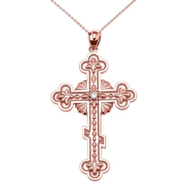Collier Femme Pendentif 10 Ct Or Rose Élégant LEst Orthodoxe Oxyde De Zirconium Croix (Livré avec une 45cm Chaîne)