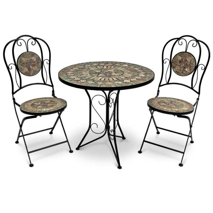 Salon jardin Mosaique Barcelona 1 Table +2 Chaises - Achat / Vente ...
