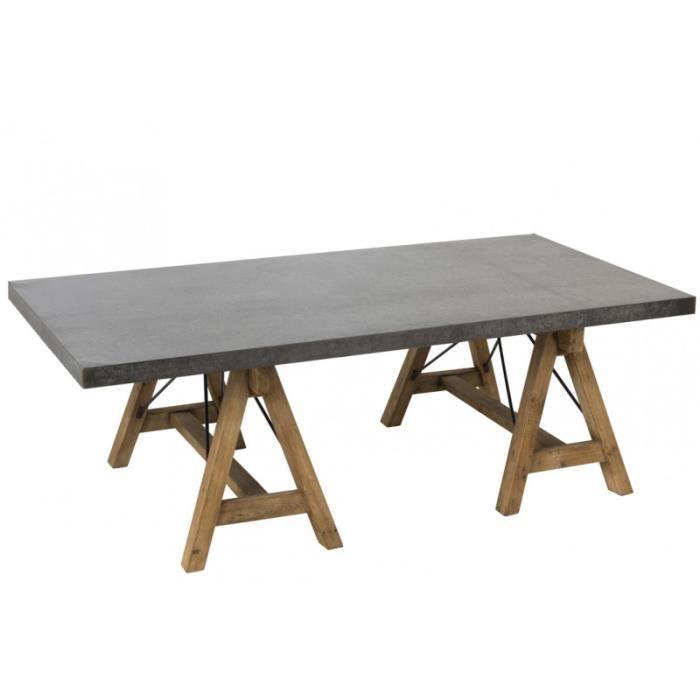 Table de salon industriel pieds tréteaux bois naturel et plateau ...