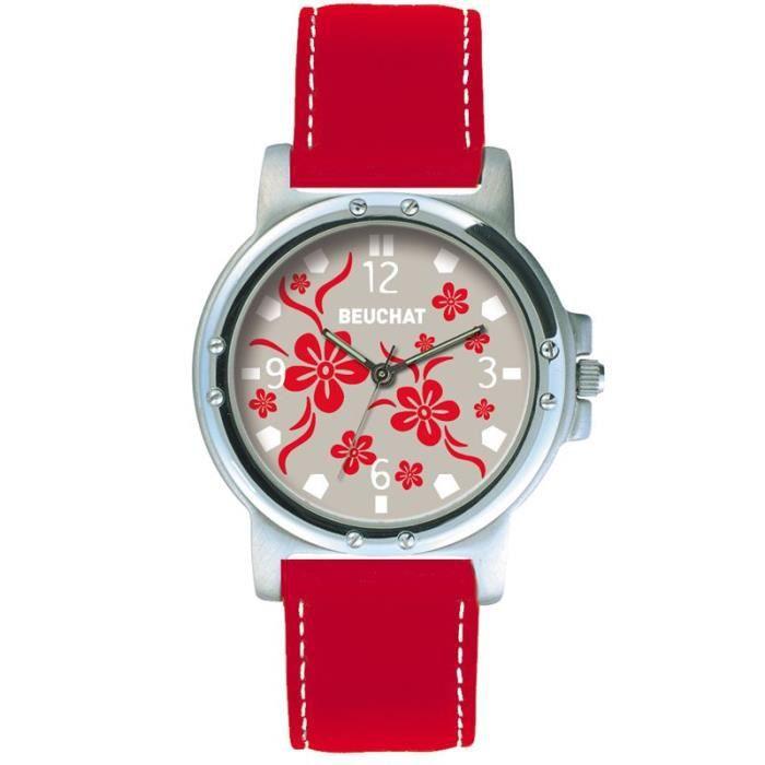 Montre BEUCHAT Femme ou Adoslescente Gris motifs fleurs rouges BEU9981