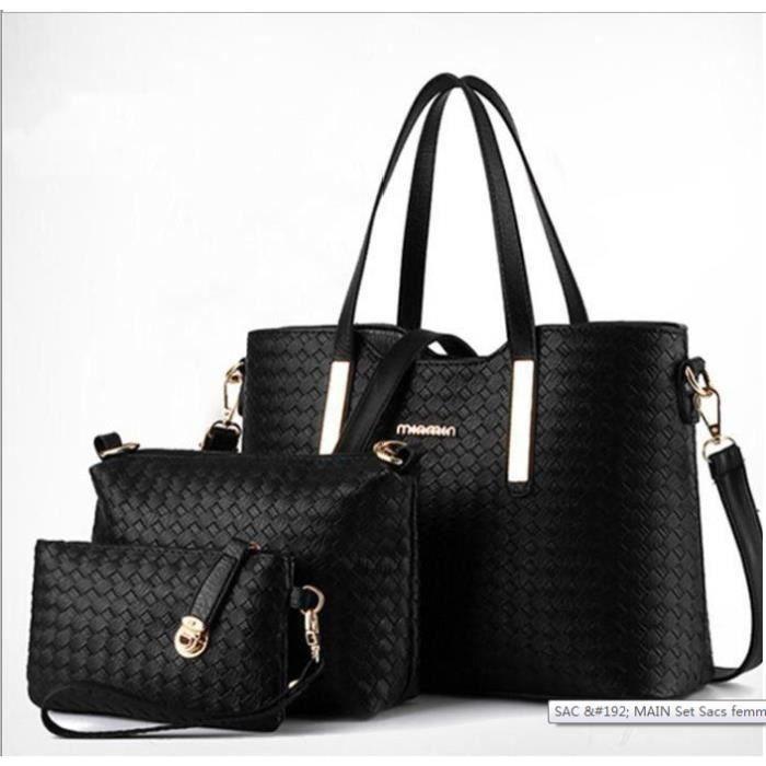 3 PCS Sac à main femme portes dos en PU cuir Sac à bandoulière cuir Sac  d épaule cabas femme f948c57b4bbf