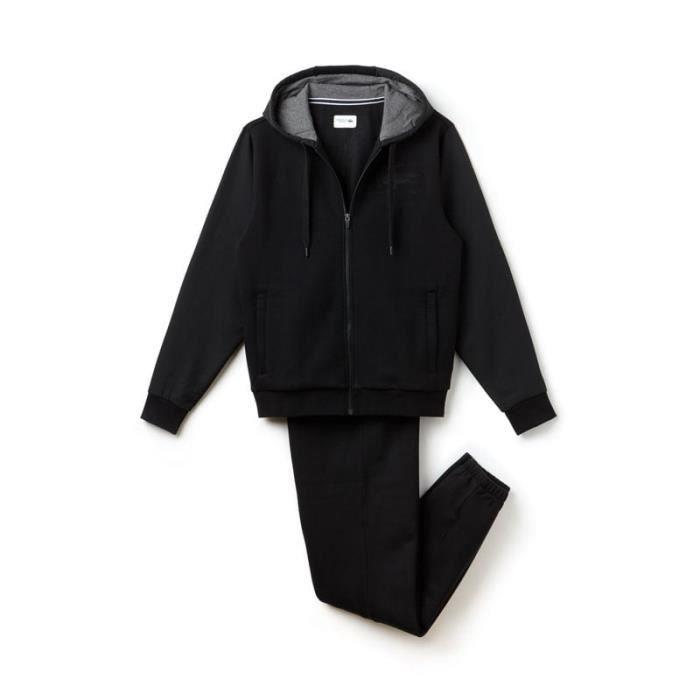 Survêtement Lacoste WH8127 E89 à capuche en molleton noir. Noir Noir ... fdc3143a1b1