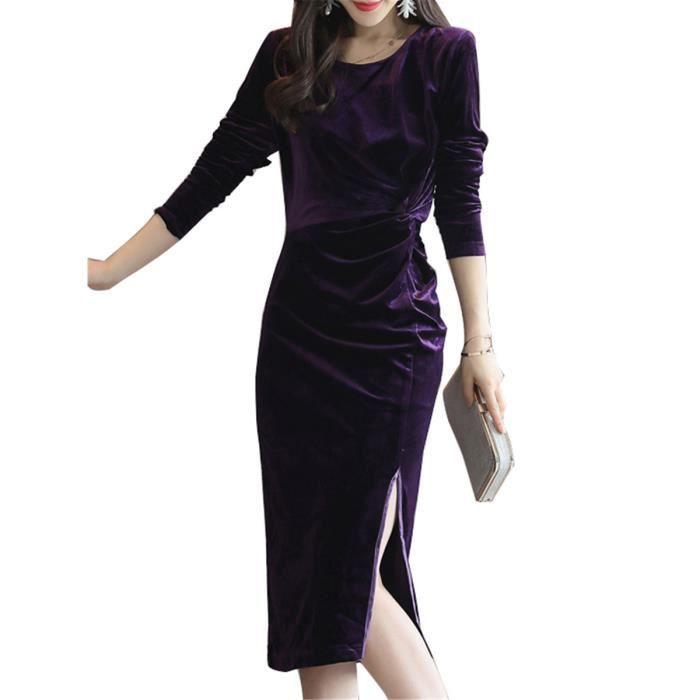 taille plus des femmes robe à manches longues couleur unie o robe fendue du cou