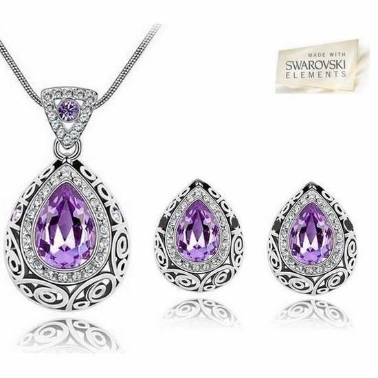 Swarovski ElementParure Bijoux Duchesse Goutte cristal Lilas