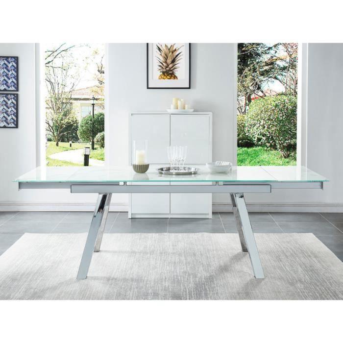 Table à manger extensible SERVANE - Verre trempé effet marbre   chrome - 6  à 8 couverts 479b11102b46