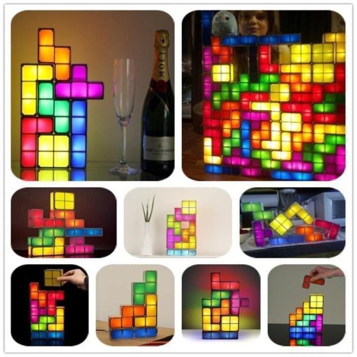 Empilable Tetris Retro Bricolage Lampe Led Game Style Constructible PTkOiuXZ