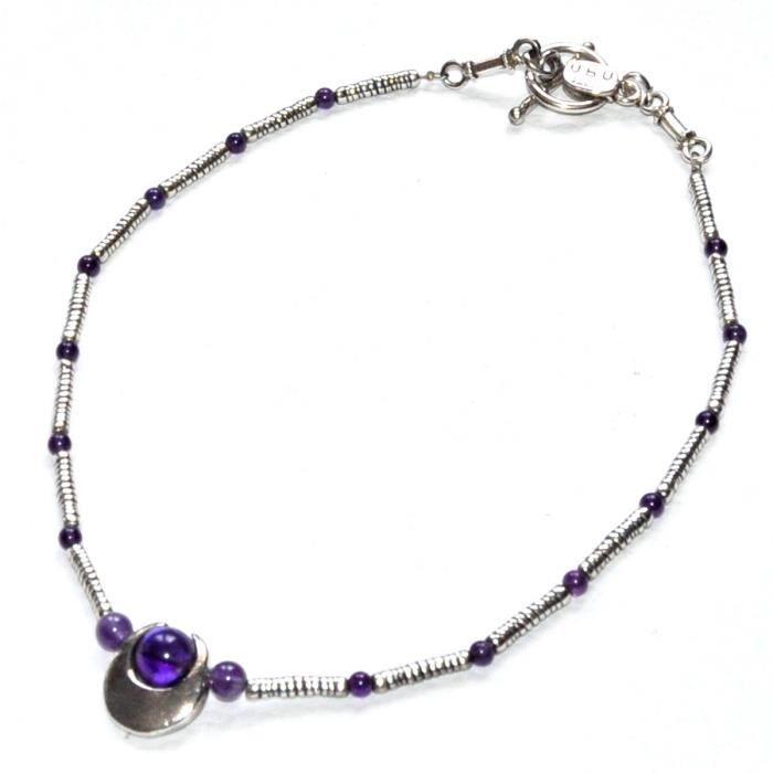 UBU Collier plaqué argent perle Améthyste violet bijou