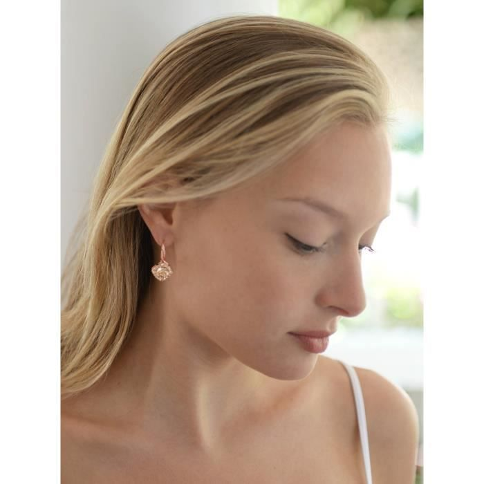 Womens Tailored Solitaire Drop Earrings With Brilliant Round Crystals In Rose Gold Tone. Loved ByIGGX1