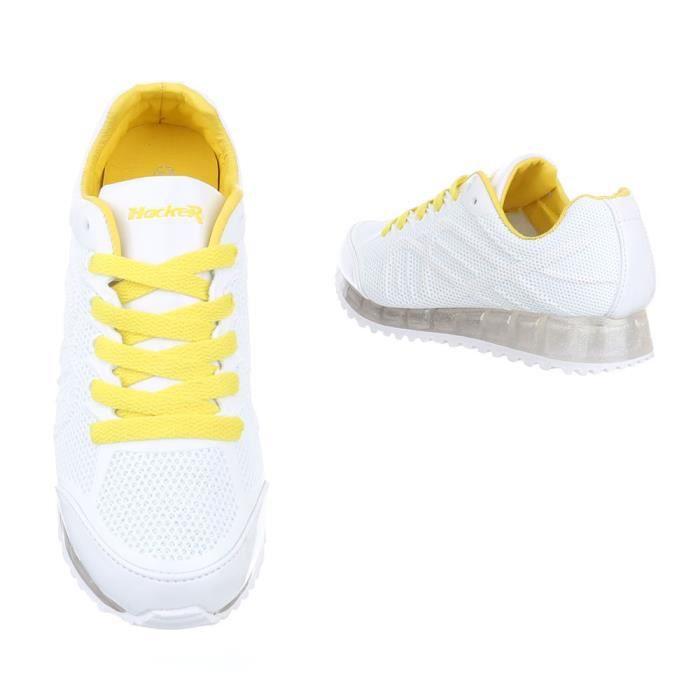 Jaune Bleu Femme Laçage Par Chaussure Blanc Sport De blanc Décontractées Sneakers Chaussures 77wgvz