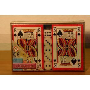 CARTES DE JEU Coffret 2 jeux de 54 cartes et 5 dés (1758)