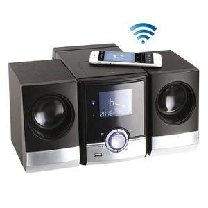 CLIPSONIC TES180 Chaine Hi-Fi Bluetooth - Noir et Argent