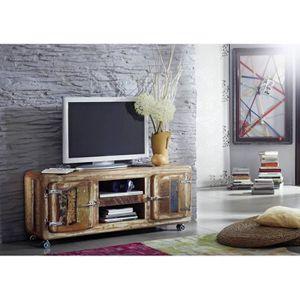 MEUBLE TV Meuble TV avec roulettes - Bois massif recyclé laq