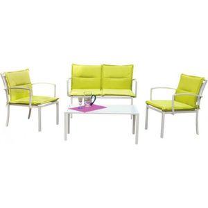 Salon détente vert anis 1 canapé + 2 fauteuils + 1 table • Salon de jardin  • Salon détente vert anis 1 canapé + 2 fauteuils + 1 tab