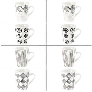 SERVICE À THÉ - CAFÉ Coffret 8 tasses 10cl Noir et blanc Table Passion