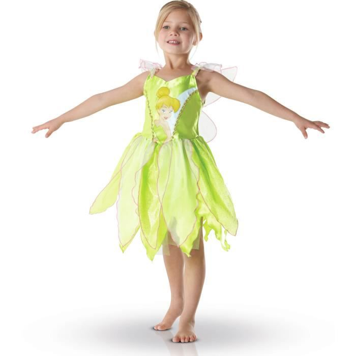 Ce déguisement de fée clochette pour enfant est une robe verte à fines bretelles. Le haut de la robe est décoré de l'image de la fée clochette, tandis que le bas est décoré de paillettes dorées et doublé de franges en tissu blanc transparent. Le costume c