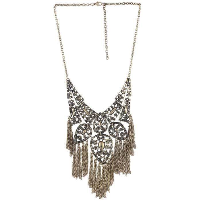 Womens Alloy Tribal Design Golden Black Choker Necklace For And Brass Pendant Set With Matching E WOARF