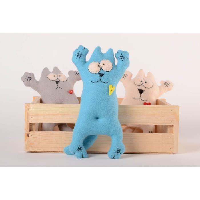 jouet mou fait main d co maison chat bleu ciel design cadeau pour enfant achat vente objet. Black Bedroom Furniture Sets. Home Design Ideas