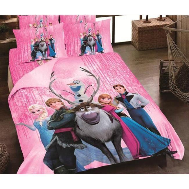 parure de lit reine des neiges coton 200*230 cm 3d effet 4 piece