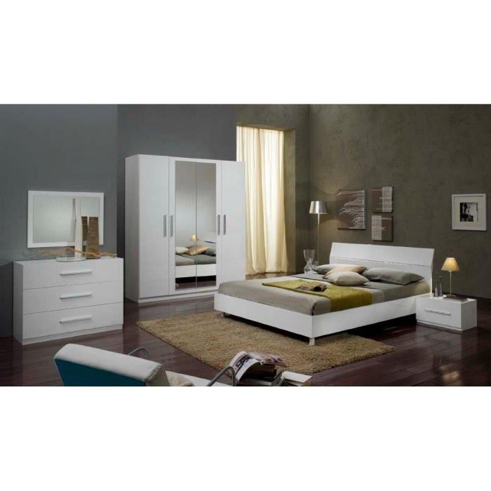 Chambre à coucher modèle GLORIA BLANCHE LAQUEE ARMOIRE 3P ET LIT 160 ...