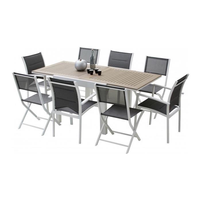 Ensemble Modulo 8 table carrée polywood L90 4 fauteuils 4 chaises ...