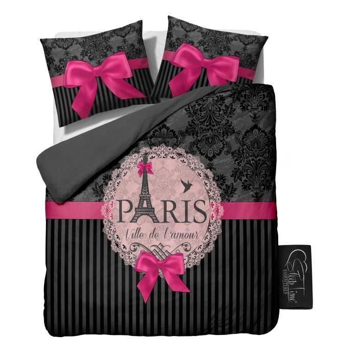 Housse de couette i love paris pink 240x220 cm achat - Housse de couette 240x220 ...
