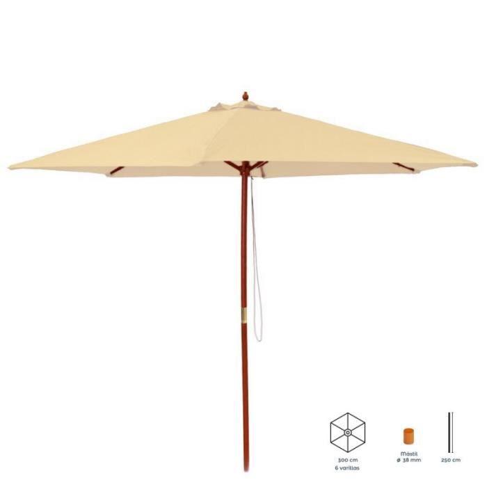 Parasol droit rond 3m en bois beige LENA   L 300 x l 300 x H 250