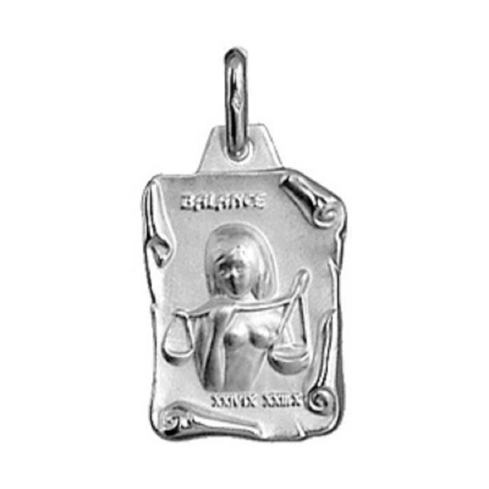 Pendentif + Chaîne 50cm Médaille Signe Astrologique Zodiaque Balance - Argent Massif 925°°° Rhodié - Neuf