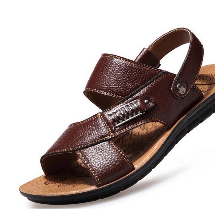 Summer Sandals Hommes Sandales en cuir Mens Cas...