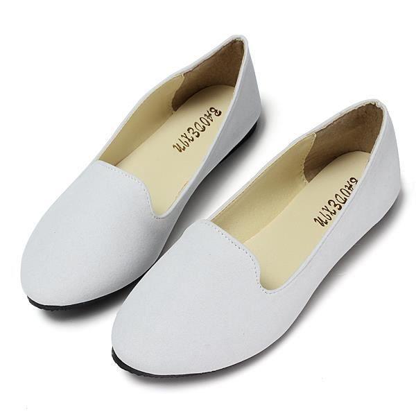 Mode Ballerine Chaussures Femme Blanc Enfiler SSnfTAqPv