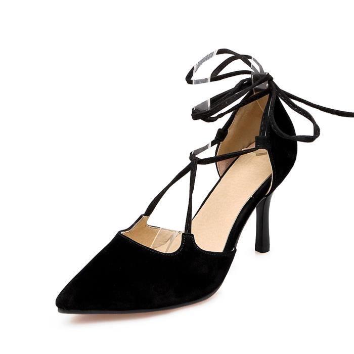 775f96b736f ... Lanières Chaussures Eté Soirée Noir 43. ESCARPIN Oaleen Escarpins  Pointu Femme Talons Haut Sexy Dai