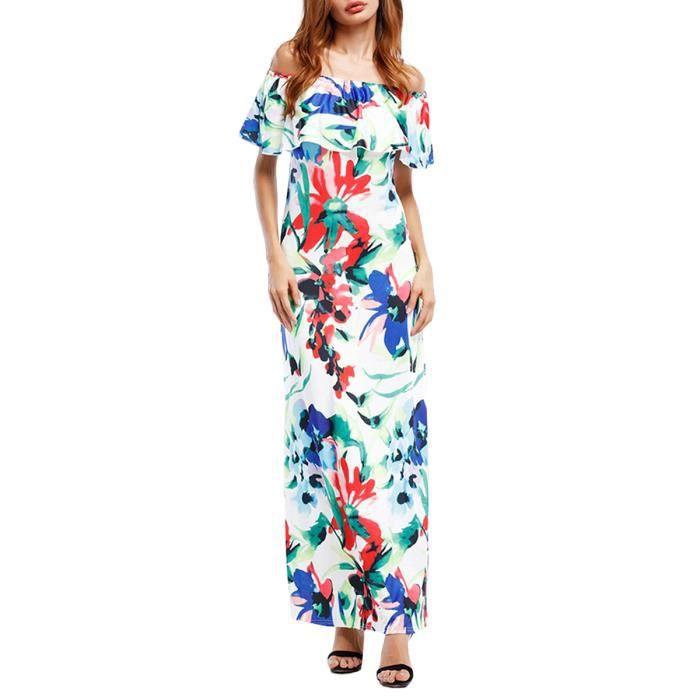 barre oblique longue robe maxi femmes cou Robe à motif floral mince