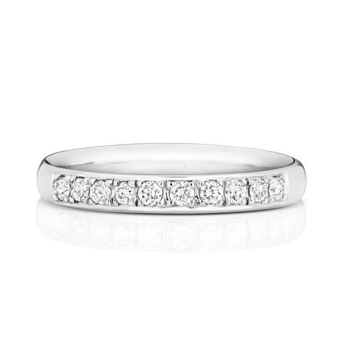 Bague de Mariage-Alliance Femme Semi Pavée 2,7mm Platine 950 et Diamant Brillant 0.16 Carat G - SI1 31113