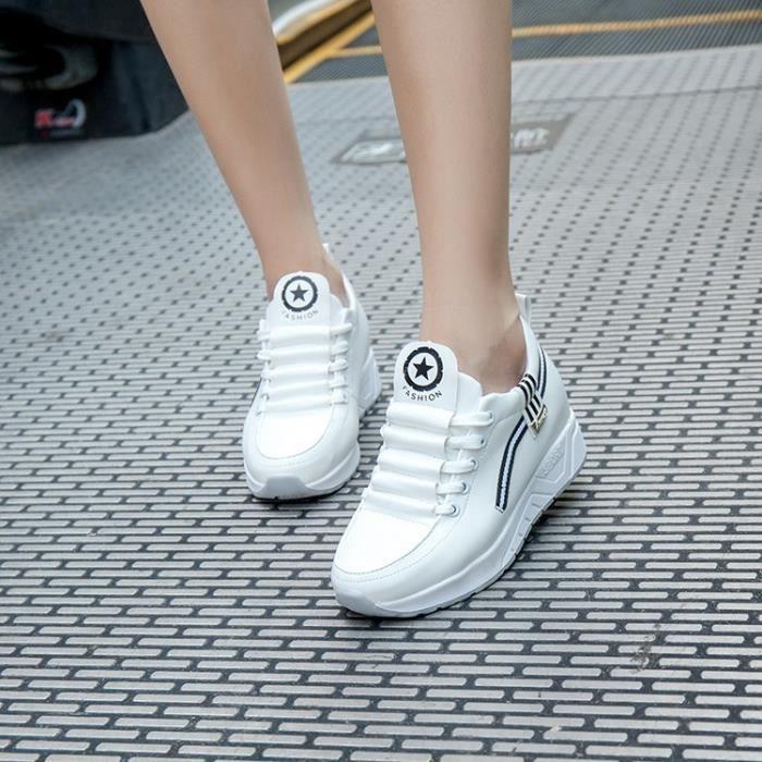 Chaussures Femme Cuir net Chaussures de marche Chaussures de sport coussin d'air Secouer épais Soles Muffin doux sport Femmes KOMq5FfL