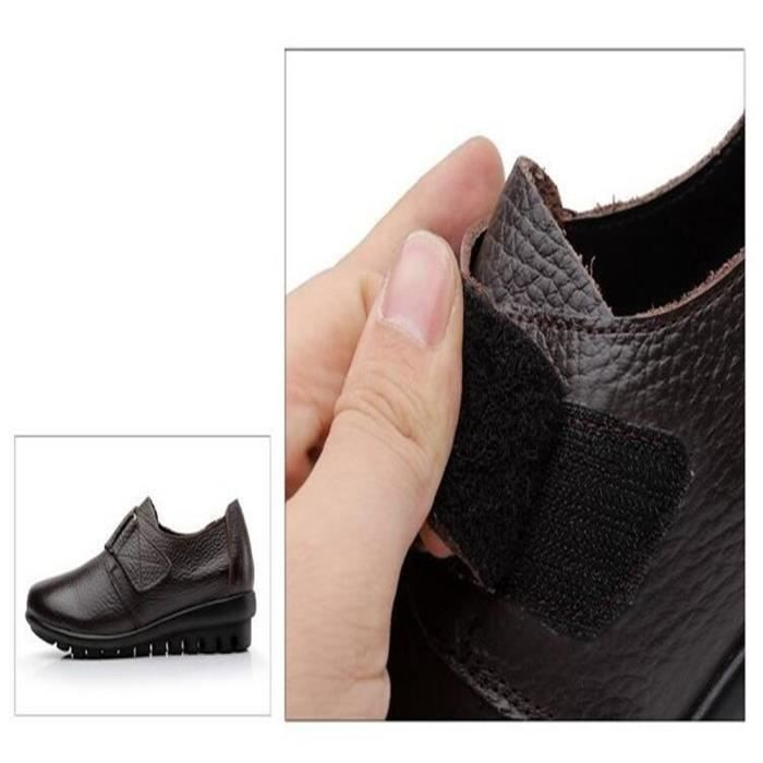 Chaussures Femme Printemps Été Comfortable Cuir Chaussure BDG-XZ063Marron35