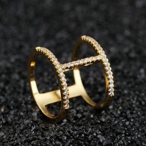BAGUE - ANNEAU BG1058 Bague femme diamant double couche  taille6-