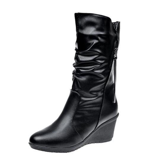 Cuir Deuxsuns®round Pile Wedges Noir Zipper Bottes De Toe Zhq80905354bk38 Neige Femmes Chaud Chaussures wrTrqt