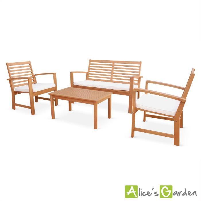 Salon de jardin Roses en bois, coussins écrus, 4 places assises, 4 ...