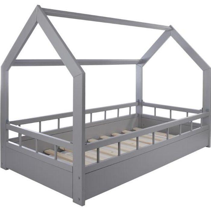 solenzo lit cabane gris pour enfant avec sommier et. Black Bedroom Furniture Sets. Home Design Ideas