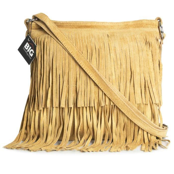 Bhbs Femmes Sac à Main De Daim Italien Cuir Tassle Frange Cowgirl épaule à La Mode 32x26 Cm (lxh) ZUCG8