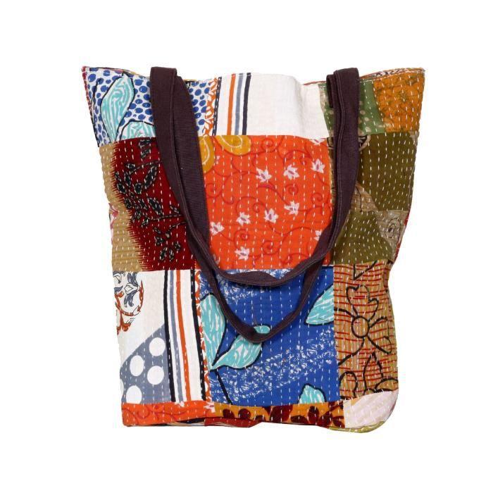 femmes vintage coton kantha travail toile poignée sacs à bandoulière à la main X613G
