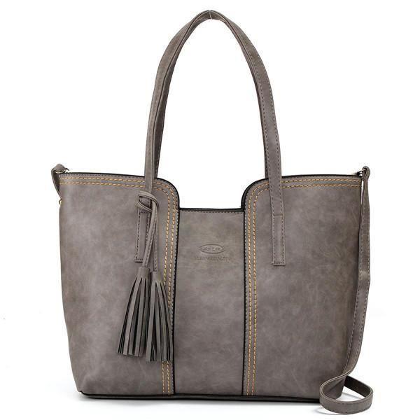 SBBKO885Femmes rétro gland sacs fourre-tout dames sacs à bandoulière occasionnels Crossbody Gris