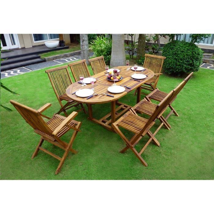 Salon de jardin en teck pour 8 personnes - table ovale - chaises et  fauteuils pliants