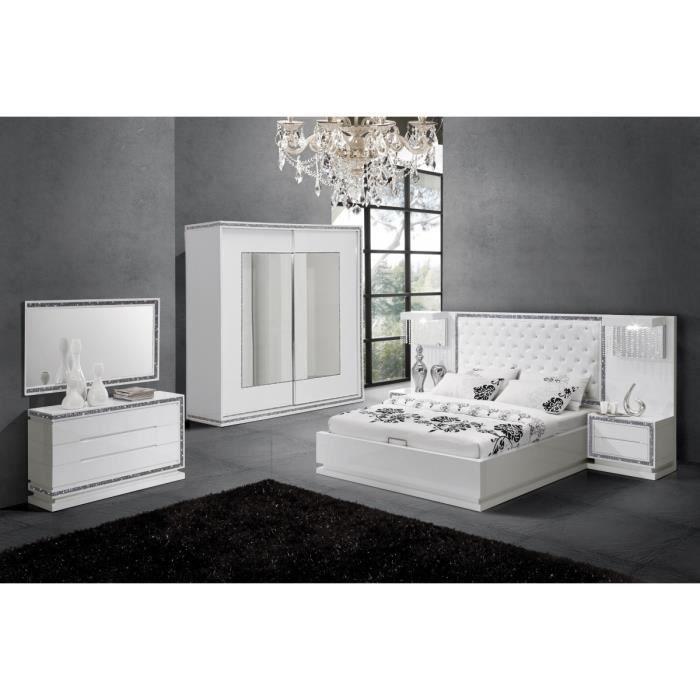 Chambre complète design coloris blanc laqué avec strass Blanc ...