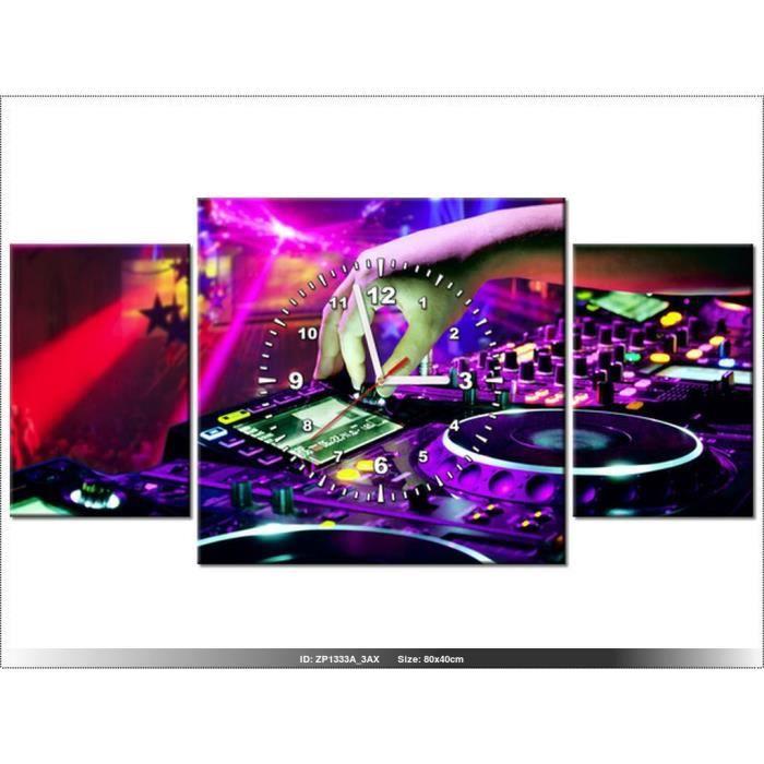 80x40cm -DJ MUSIQUE - TABLE DE MIXAGE - HORLOGE MURALE TABLEAU ...