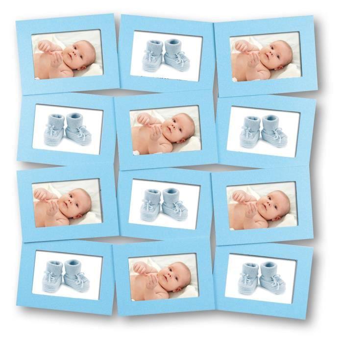 Baby cadre photo enfant pêle mêle 12 vues 10x15 bleu cdt